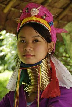 Neck rings on Karen girl, from Karen Tribe Thailand hill tribes