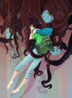 bright surreal illustrations by Ronald Kurniawan