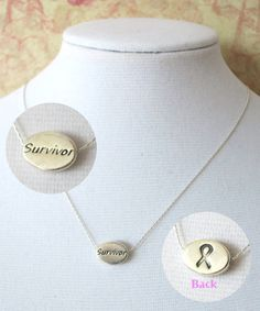 Devoted to Breast Cancer Survivor Necklace - Sterling Silver Necklace, Cancer Awareness Jewelry, Be strong Gift, Cancer ribbon necklace, www.colormemissy.com, by ColorMeMissy, $20.00