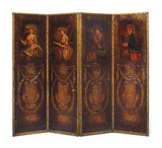 A NORTH EUROPEAN PARCEL-GILT AND POLYCHROME-PAINTED EMBOSSED LEATHER FOUR-LEAF SCREEN SECOND HALF 19TH CENTURY Decorated with ladies symbolic of the four seasons, losses to the decoration