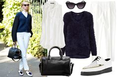 Outfit idea: white jeans, sleeveless blouse, chunky/boxy sweater.