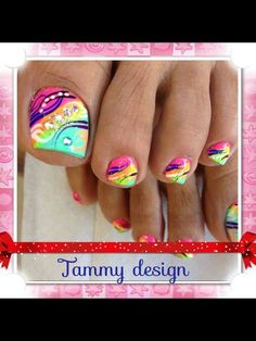 Toes nail with colorful design. Pretty to wear with summer bright colors!-- Toes nail with colorful design. Pretty to wear with summer bright colors! Get Nails, Fancy Nails, Love Nails, How To Do Nails, Pretty Nails, Pretty Toes, Pedicure Nail Art, Toe Nail Art, Pedicure Ideas
