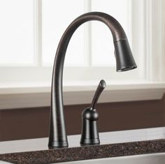 Check out the Delta Pilar kitchen faucet! Desk Lamp, Table Lamp, Kitchen Products, Plumbing Fixtures, Kitchen Handles, Farmhouse Style, Faucet, Bronze, Lighting