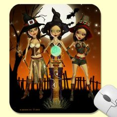 Sisters Three Witch Mouse pad - Mouse mat by XG Designs NYC. Lovely and useful for a magical experience in your home office or as a gift for friends and family! $17.95 #witch #magic #mousepad