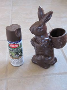 DIY, Old Ceramic Bunny, Brown Outdoor Spray Paint = Chocolate Bunny Decoration