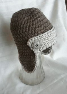 Crocheted Aviator Hat  Aviator Hat by MamaTCrafts on Etsy, $18.00