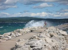 Petoskey, Michigan. The Break wall at Lake Michigan. Walked our there sevral times & it was beautiful! Jumped off it in the summer LOL