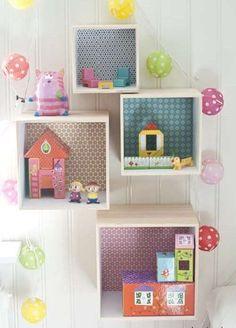 Manualidades para habitación infantil:  Fotos ideas DIY - Ideas de estanterías en forma de cubos