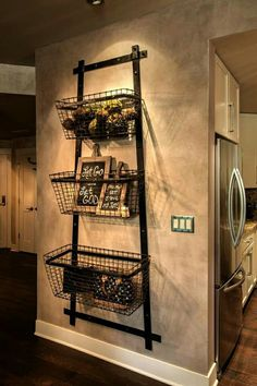 Vintage Industrial Chic Fruit And Veggies Baskets! Papa Has Those Baskets!  This Would Be So Easy // Not So Drastic But Something Like This In Kitchen,  ...