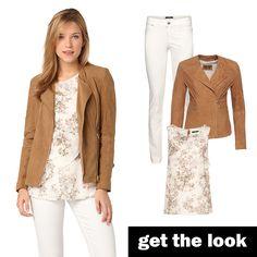Lederjacke im Biker-Stil, Bluse mit Blüten-Print und weiße Slim Fit Jeans von zero #zerofashion #getthelook #outfit #ootd