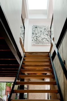 Cottage de Brebeuf is a duplex cottage conversion by Atelier BOOM TOWN into a rustic chic home of steel, wood and concrete, sited in Brebeuf, Quebec, Canada. Staircase Landing, Staircase Railings, Stair Treads, Stairways, Duplex, Cottage, Home Reno, Contemporary Architecture, Montreal