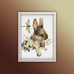 Bunny Cross Stitch Pattern 8 Instant Download Instant PDF Download - Bunny Watercolor Cross Stitch Pattern - Animal Cross Stitch Pattern Extra Fabric, Color Change, Cross Stitch Patterns, Free Images, Moose Art, Bunny, How Are You Feeling, Pdf, Symbols