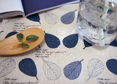 Laminated Linen Fabric Spring Leaf Blue By the Yard by landofoh