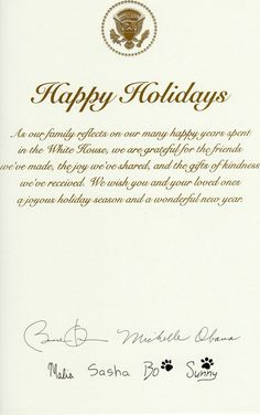 Holiday Wishes from the Obamas 2016