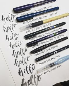 Here's a visual of my favorite brush pens. I get asked allllll the time, and I'm thrilled to share! I get real passionate about pens, guys. (Also, silly me- the Tombow fudes should switch places, whoops!) . . . #handlettering #lettering #moderncalligraphy #calligraphy #brushlettering #brushcalligraphy #learnlettering #letteringpractice #learncalligraphy #practicemakesprogress #letteringleague #brushlettering #tombow #pentelbrushpen #kuretake #tombowfudenosuke #penteltouch #aquash