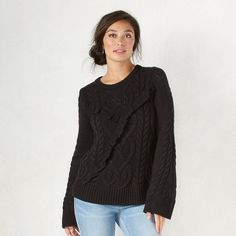 Women's LC Lauren Conrad Cable Knit Boatneck Sweater