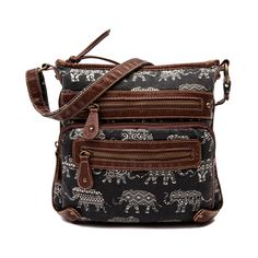 Shop for Womens Elephant Crossbody Handbag in Black at Journeys Shoes. Shop today for the hottest brands in mens shoes and womens shoes at Journeys.com.Hit the streets in style with the new boho chic Elephant Crossbody Handbag!Features includeElephant and tribal print canvas exterior with faux leather trimZip closureFront zip cargo pocket2 interior slip pockets and wall zipper2 exterior zip pocketsAdjustable crossbody strapDimensions L 9.5x W 2.5 x H 10