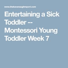 Entertaining a Sick Toddler -- Montessori Young Toddler Week 7