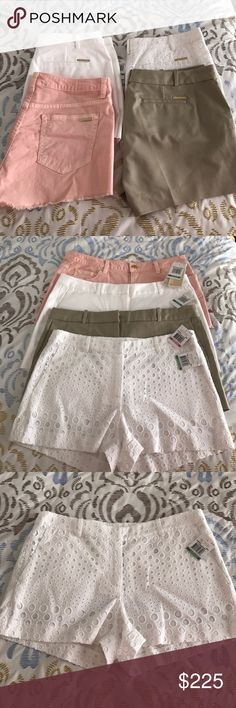 Michael Kors shorts lot of 4 All are brand-new with tag still attached! All are size 8 except the khaki that's a as 10. The white eyelet short is 100% cotton. The pink shorts is 97% cotton 3% elastin. The solid white & khaki are 97% cotton and 3% spandex. Each a short retailed for over $88 plus tax. These are authentic! I purchased for myself however I recently lost weight and I no longer fit into them. No trades and PRICE IS FIRM. Value is over 350.00! Will only break up the set to take out…