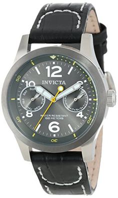 Women's Wrist Watches - Invicta Womens 14144 IForce Charcoal Grey Dial Black Leather Watch -- Click image to review more details. (This is an Amazon affiliate link)