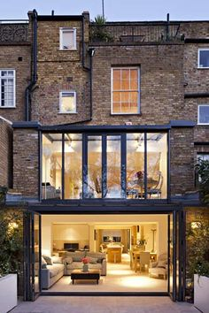 two storey glass extension attached to terraced house by aprops Extension Designs, Glass Extension, Rear Extension, Extension Google, Extension Ideas, House Extension Design, Renovation Facade, Architecture Design, Casas Containers