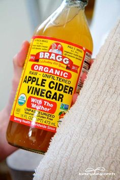Pour ¼ cup of apple cider vinegar into a large bowl, and then fill the bowl halfway with boiling water. Place a towel over your head so that it drapes over the bowl, trapping the steam, and hold your face over it. Make sure your face isn't so close that it gets burned by the steam. Do this for 5-10 minutes, or when the water starts to cool down, breathing in and out deeply the whole time. When you're done, use the towel to pat your face dry, and go drink a glass of cool water.