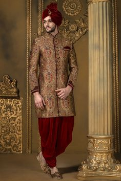 Antique #gold multicoloured khinkwab bandh gala presentable #sherwani with #red dhoti pants-IW333