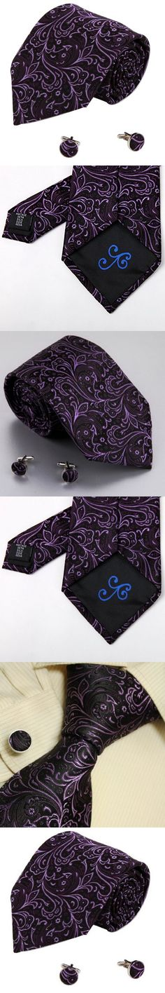 Purple Pattern Neck Ties Black Paisley Christmas Gifts for Dad Accessories Silk Tie Set A1123 One Size purple,black