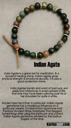 India Agate is a great aid for meditation & a powerful healing stone. Indian agate gives physical strength & emotional security. It is also a good protection stone.… Yoga Chakra Bracelet. Mens Energy Healing Karma Mala Stacks. Reiki Jewelry.  .Meditation Mala……      Yoga Chakra Bracelet. Mens Energy Healing Karma Mala Stacks. Reiki Jewelry. Indian Agate.