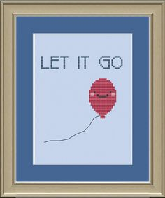 Let it go: cute red balloon cross-stitch pattern Kawaii Cross Stitch, Cross Stitch For Kids, Just Cross Stitch, Embroidery Art, Cross Stitch Embroidery, Cross Stitch Patterns, Red Balloon, Balloons, Snitches Get Stitches