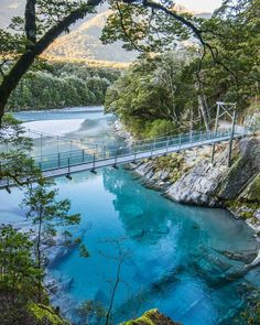 "Blue Pools, Haast Pass, New Zealand by Sam Deuchrass (@samdeuchrass) on Instagram: ""Sunrise at the incredible Blue Pools in Haast"" #googleguides #haastpassnewzealand"