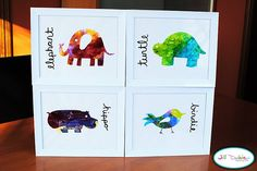 Brilliant idea to make personal cards... use the paper the kids painted on and cut out shapes