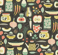 "Helen Dardik's beautiful kitchen inspired surface pattern design.  ""Orange You Lucky"""