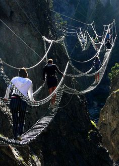 The Tibetan Bridge in Claviere, Piedmont, Italy: Experience the thrill of walking the longest Tibetan Bridge in the world suspended for 468 meters between the towns of Claviere & Cesana Torinese over the San Gervasio Gorge in Italy. Discover the adventure of the Vie Ferrate, the Tyrolean traverses & the climbing routes.