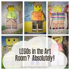 My fourth grade students draw colored pencil self-portraits based on LEGO mini figures.