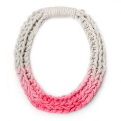 Purls hand woven yarn necklace - Neon Pink by Saloukee.