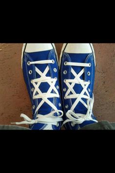 Tying the shoe laces on Chuck Taylors into a Star of David pattern is brilliant!