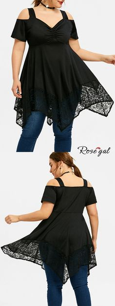 657955682355b7 Plus Size Lace Open Shoulder Handkerchief Top - Black - 5xl Plus Size T  Shirts