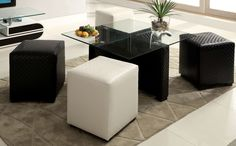 Buy Furniture of America CM-BN6713 Ruti Table with 4 Ottomans- Bringithomefurniture.com