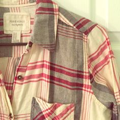 Plaid Shirt EUC plaid shirt. Black, red, and cream pattern. Lived-in soft feeling. Loose fit. 99% cotton 1% spandex. A total staple piece to any closet. Forever 21 Tops Button Down Shirts