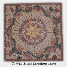 Medallions are a perfect accent to an entryway, foyer, or even an outdoor patio.  This mixed marble mosaic by Carved Stone Creations features a beautiful sunburst pattern encircled by a rope.  The tile is adhered to a mesh backing, making installation a snap.  Just spread grout into the seams and wipe the excess away with a damp rag. $154  Click on the image to see it in our online store.