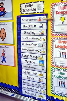 consistent classroom routine can be key to classroom management! Check out this schedule for a special needs pre-school class!A consistent classroom routine can be key to classroom management! Check out this schedule for a special needs pre-school class! Classroom Daily Schedule, Classroom Routines, Classroom Activities, Preschool Schedule, Daily Schedules, Preschool Classroom Management, Visual Schedules, Preschool Calendar, Preschool Sign In Ideas