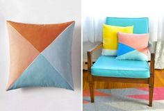 DIY Easy Color Block Throw Pillows: 7 DIY Projects to Hack Serena and Lily's New Summer Collection via Brit + Co
