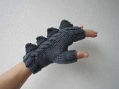 Dragon dinosaur monster slate grey fingerless by HotScones, $45.00