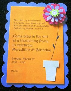 kids Gardening Party Invitation DIY