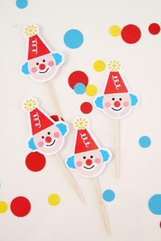 Toppers ou piques à cupcakes thème anniversaire cirque
