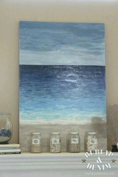 Tutorial for making Beach inspired art for cheap! Tutorial to make beach inspired art cheap! Art Diy, Diy Wall Art, Diy Canvas, Canvas Art, Blue Canvas, Beach Canvas, Ocean Canvas, Abstract Ocean Painting, Ocean Paintings