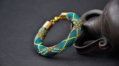 Turquoise Beaded Rope Bracelet - Blue & Gold Crocheted Woven Seed Bead…