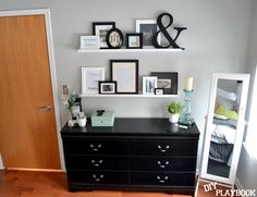Gallery wall using picture ledges, so you can move things around - I love the other items she's included in this!
