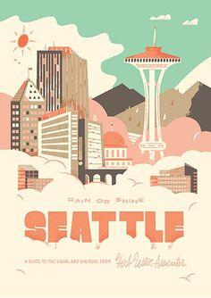 Seattle Rain or Shine -- Herb Lester - Check out Travel Arsenal's latest Copenhagen Map, Seattle Rain, Voyage Usa, Enjoy The Ride, Guache, Travel Illustration, Design Graphique, Vintage Travel Posters, Retro Posters